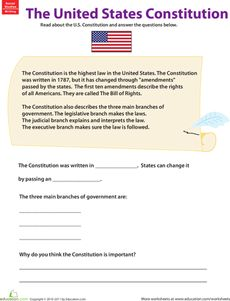 The Constitution is an important part of American history and life. Kids may not take government class until high school, but learning about the Constitution is important for kids of all ages. Give your kids a lesson on this foundational American document with help from this worksheet. After reading the paragraphs about the Constitution, kids test their comprehension by completing the sentences, then write a few of their own describing why they think the Constitution is important.