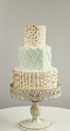Wedding Cake in Mint, Ivory Gold. Source: Andrea Howard Cakes #weddingcakes