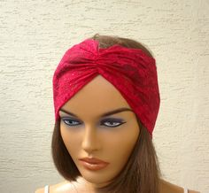 Dark pink lace headband strech headband turban by KnitterPrincess, $5.50