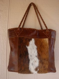 Brown Leather Tote Bag/Purse With Hair On Cowhide by LindaLeeReid, $159.00