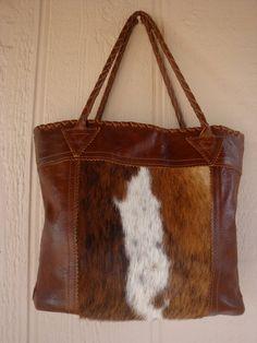 Brown Leather Tote Bag/Purse With Hair On Cowhide by LindaLeeReid, $159.00