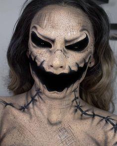 Halloween ♥ — Oogie Boogie on We Heart It Creepy Halloween Makeup, Amazing Halloween Makeup, Halloween Eyes, Scary Makeup, Halloween Makeup Looks, Makeup Art, Makeup Shop, Voodoo Makeup, Face Makeup