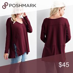 AVELIE solid side slit long sleeve top - BURGUNDY BASIC SIDE SLIT LONG SLEEVE TOP •Fabric RAYON/POLY 🚨NO TRADE, PRICE FIRM🚨 Bellanblue Tops Tees - Long Sleeve