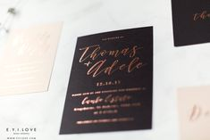 Our beautiful Adele wedding invitation suite, foiled by hand in rose gold in our Glasgow studio. Luxury Wedding Invitations, Wedding Invitation Suite, Wedding Stationery, Order Of Service, Rose Gold Foil, Table Plans, Glasgow, Adele, Rsvp