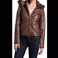 NWT Brown faux fur jacket Romeo Juliet NWT fabulous jacket!  Fur hood that is detachable .  Brown puffer jacket. Light weight. Zipper up jacket.  Zipper on sleeve. Runs small Romeo & Juliet Couture Jackets & Coats Puffers
