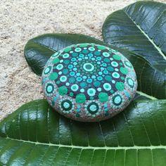 Forest Green, Shades of Green Dot Painted Stone, Original Hand Painted Rock Art, Mandala Stone, Nature Art