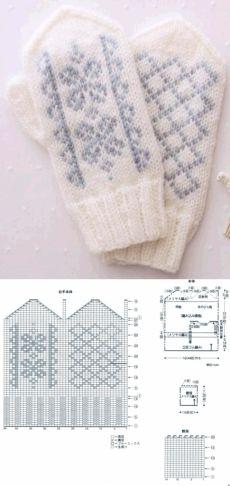 Knitted Mittens Pattern, Crochet Mittens, Crochet Gloves, Knitted Hats, Knit Crochet, Knitting Charts, Knitting Socks, Knitting Stitches, Baby Knitting