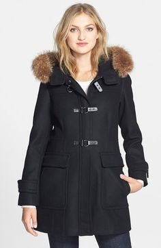 Trina Turk Genuine Coyote Fur Trim Wool Blend Duffle Coat available at #Nordstrom