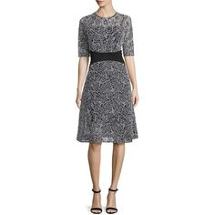 Rickie Freeman For Teri Jon Embroidered-Mesh Half-Sleeve Cocktail... (12,770 PHP) ❤ liked on Polyvore featuring dresses, embroidered mesh dress, embroidery dress, elbow length dresses, broderie dress and straight dresses
