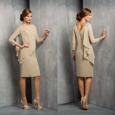 Cheap dresses plus size women, Buy Quality dress drama directly from China dress white dress Suppliers: 2015 Hot Crew Neck Long Sleeve Champagne Chiffon Knee Length Mother Of The Evening Dresses Plus Size, Wedding Dresses Plus Size, Trendy Dresses, Evening Gowns, Nice Dresses, Fashion Dresses, Cheap Dresses, Halter Dresses, Trendy Clothing