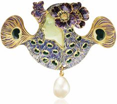 AN ART NOUVEAU ENAMEL, CHRYSOPRASE AND PEARL BROOCH, BY RENÉ LALIQUE. Centering the profile of a woman in chrysoprase, with two enamelled poppies on each side, her hair as enamelled peacock feathers, suspending a baroque pearl, 1898-1899, 8.0 cm, with French assay mark for gold. Signed Lalique.