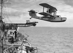 Supermarine Walrus launching off of the HMAS Canberra