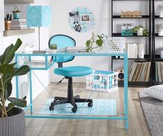 Add a little vibrant color to your workspace with this glass and metal desk in a fun aqua color!