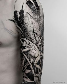 Awesome blackwork sleeve with frog tattoo by @piotrbemben_tattoo