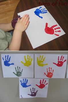 Great way to teach colors! One color in one hand, another color in the other, rub hands together to mix.