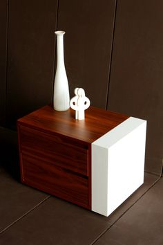 Modern Bedside Table/ Nightstand/ Custom Made/ Walnut Wood