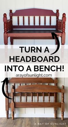 Upcycle an old thrifted headboard bed into a cute red farmhouse bench with these simple tips and tricks. Use your bench in an entryway, bedroom, patio or reading nook. This is such a fun and cheap DIY furniture makeover that will make a huge impact i Cheap Furniture Makeover, Diy Garden Furniture, Diy Furniture Easy, Bench Furniture, Diy Furniture Projects, Upcycled Furniture, Bedroom Furniture, Furniture Design, Furniture Nyc