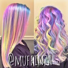 *Hair of Many Colours* We're completely in love with these #rainbow locks done b...