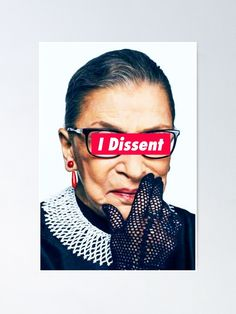 'Notorious RBG - I Dissent' Art Print by Thelittlelord Cutting Board Oil, Ruth Bader Ginsburg, Thing 1, Canvas Prints, Art Prints, Folded Cards, Photography, Serving Trays, Serving Board