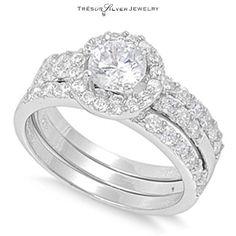 round cz halo 3pc 925 silver wedding engagement band ring set size 5 6 7 8 9 10
