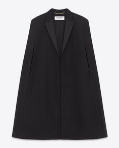 Saint Laurent - Signature Le Smoking Cape in Virgin Black Wool with Silk Lining - Classic Saint Laurent Open Front Cape with Satin Peak Lapel and Arm Holes. Runway Fashion, High Fashion, Womens Fashion, Le Smoking, Capes & Ponchos, White Outfits, Black Wool, Wearing Black, Veronica