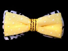 Yellow black and white hair bow