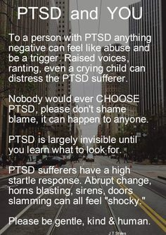 PTSD – Post-traumatic stress disorder is a word you might have heard of in the news or from friends and family, and wondered what it is, or whether you or someone you know or ever known has it… Ptsd Awareness, Mental Health Awareness, Mental And Emotional Health, Emotional Abuse, Emotional Intelligence, Ptsd Quotes, Quotes About Ptsd, Quotes Quotes, Motivational Quotes