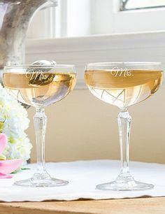 "Cute ""Mrs."" and ""Mrs."" champagne glasses"