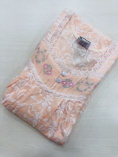 Premium cotton Embroidered nighty – VIKA Boutique Bedroom Colour Schemes Neutral, Cotton Sarees Handloom, Cotton Nighties, Diy Clothes, Clothes For Women, Kurta Neck Design, Night Dress For Women, Dress Neck Designs, Lace Embroidery