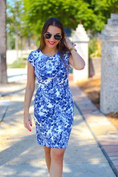 Knee Length Blue Floral Dress
