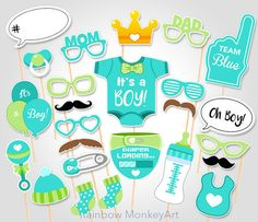 Baby Shower Photo Props  - It's a Boy Baby Photo Booth Props - Printable Photobooth Props - Team Blue Baby Boy Printable Party Props