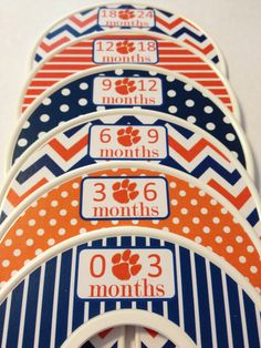 6 Custom Baby Closet Dividers - Orange and Navy Auburn Tigers Baby Nursery Shower Gift Baby Closet Clothes Organizers Dividers on Etsy, $18.00