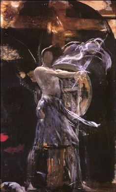 """ Archangel "", by Nikolaos Gyzis Greece Painting, Moonlight Painting, Christian Artwork, Jesus Painting, Art Nouveau, Post Impressionism, Greek Art, Sketch Painting, Chiaroscuro"