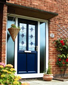 Hmmm,,,navy front door; white and blue paint colors for exterior wood door decoration