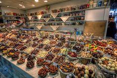 Chocolate stall at La Boqueria Market in Barcelona....