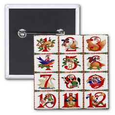 12 Days Of Christmas Quilt Print Gifts 2 Inch Square #Button #Christmas #12DaysOfChristmas #HolidayGifts #Gifts #Shopping