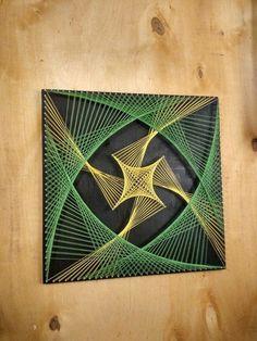 String Art Templates, String Art Tutorials, String Art Patterns, Doily Patterns, String Art Diy, String Crafts, Arte Linear, Instalation Art, Math Art