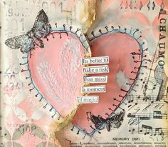 Pink heart mixed media with butterflies and music - Nika In Wonderland Art Journaling and Mixed Media Tutorials Art Journal Pages, Art Journaling, Mixed Media Journal, Mixed Media Canvas, Mixed Media Collage, Collage Art, Collages, Kunstjournal Inspiration, Art Journal Inspiration