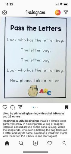 Letter bag game for preschool education. Great for circle time, morning meetings and small group activities. Preschool Songs, Preschool Literacy, Preschool Education, Preschool Letters, Letter Activities, Preschool Lessons, In Kindergarten, Preschool Good Morning Songs, Phonics For Preschool