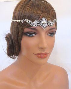 Bridal headband Bridal forehead band Wedding halo by treasures570, $85.00
