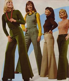 1974 Big bell-bottoms had to cover your shoes. These ladies look like they are in their 30's, but were probably 18-24 year-old models.