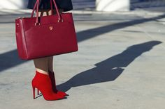 Like the riding hood - Fashion Has It. Mcm Handbags, Red Ankle Boots, Mcm Bags, Burgundy Color, On Shoes, Classy, Chic, Inspiration, Fashion