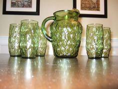 Vintage Pitcher and Glass Set, Tear Drop Design, Avacado Green Drops Design, Vintage Glassware, 1960s, Vase, Dishes, Mugs, Glasses, Tableware, Green