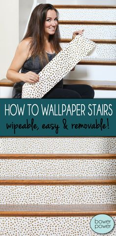How To Wallpaper Stairs | It's super simple, makes a huge impact and is completely removable if you are renting, prone to changing your decor or simply hate anything permanent | Bower Power Blog