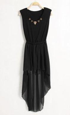 #SheInside Black Shoulderpad Beading Tank High Low Dress