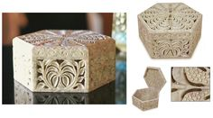 """Poppies : Jali Carving Soapstone Jewelry Box  White poppies bloom amid lavish foliage on a hand-carved jewelry box. It showcases India's traditional jali or openwork carving  Product Code : BX-15  Size: 3"""" H x 4.9"""" W x 4.9"""" D  Weight: 1.9 lbs"""