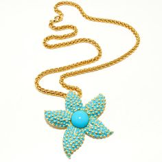 Vintage Kenneth Lane KJL Large Aqua Turquoise Large Starfish Pendant with Gold Tone Chain Spring Summer Beach Trend Novelty Figural Jewelry