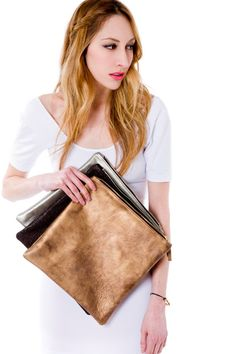 Oversized metallic leather fold clutch in by MarketaNewYorkShop, $145.00