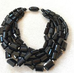 NWOT ANGELA CAPUTI ITALIAN DESIGN STATEMENT PIECE JET BLACK RESIN BEAD NECKLACE #ANGELACAPUTI