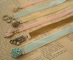 How to make bookmarks from velvet ribbon and charms.